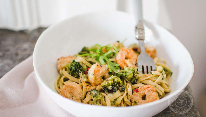 Spaghetti aux crevettes et ricotta